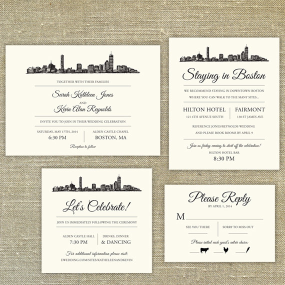 Boston Skyline Destination Wedding Invitation Sample Only