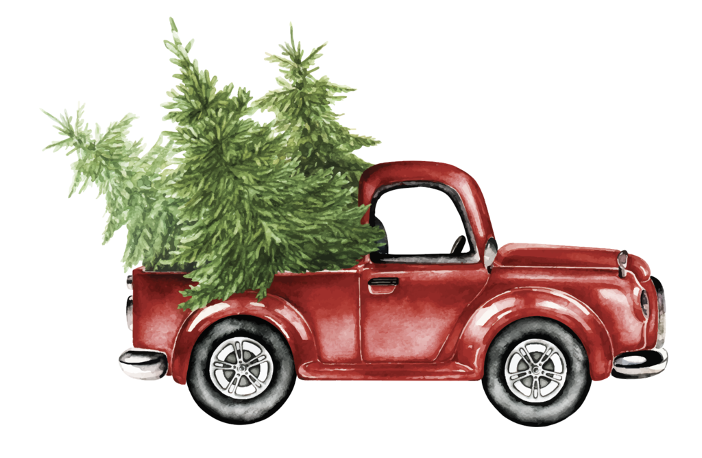 Classic Truck With Christmas Tree Christmas Tree Truck Christmas Tree Drawing Christmas Paintings