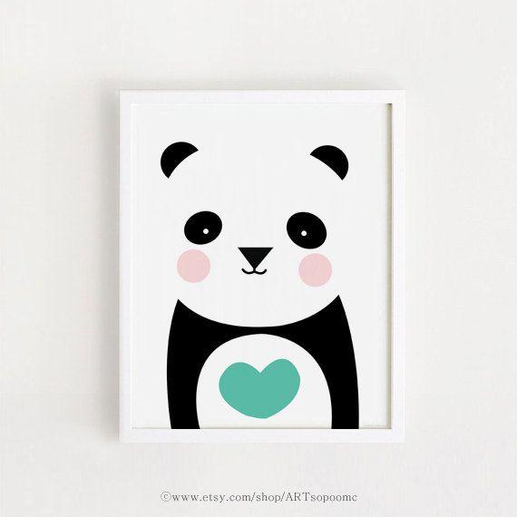 Mint Heart Panda Poster Bebe Instant Download Cute Printable Art