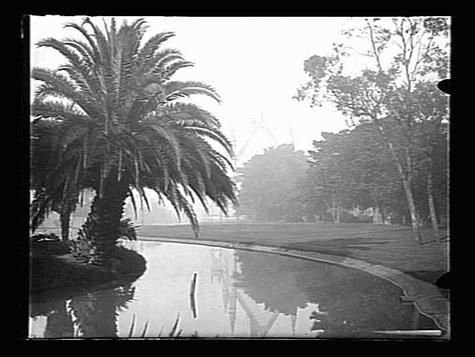 A lake in the grounds of Melbourne University, c1900