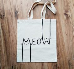 MEOW   hand painted  TOTE BAG shopping bag grocery by miskabags                                                                                                                                                                                 More