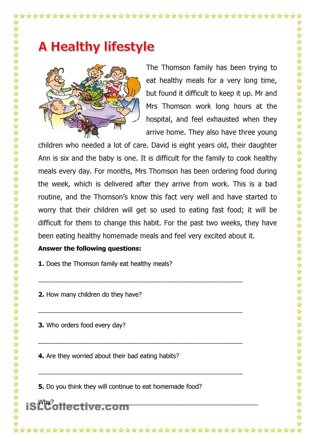 A Healthy LifeStyle   Reading comprehension worksheets [ 1440 x 1018 Pixel ]