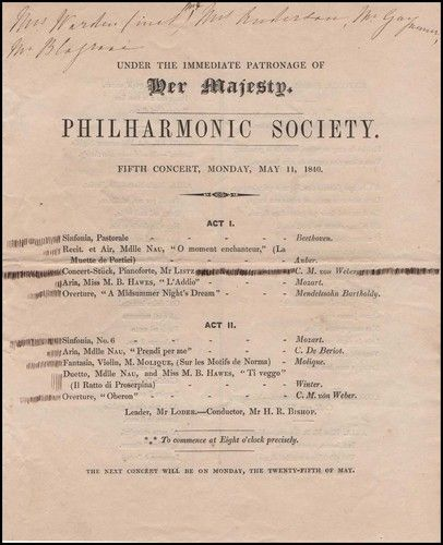 Franz Liszt Soloist  Philharmonic Society Concert Program For May