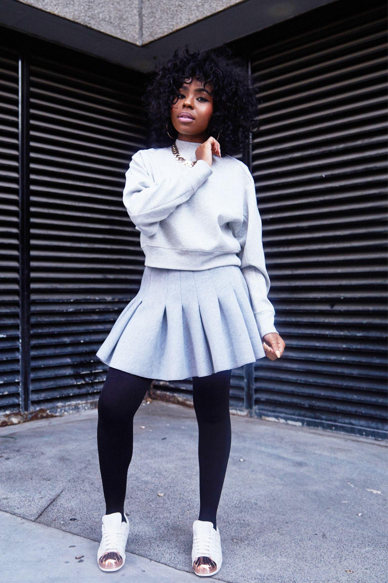 Fly Fall Look Sweatshirt And Tennis Skirt Black Fashion Fashion Fashion Outfits