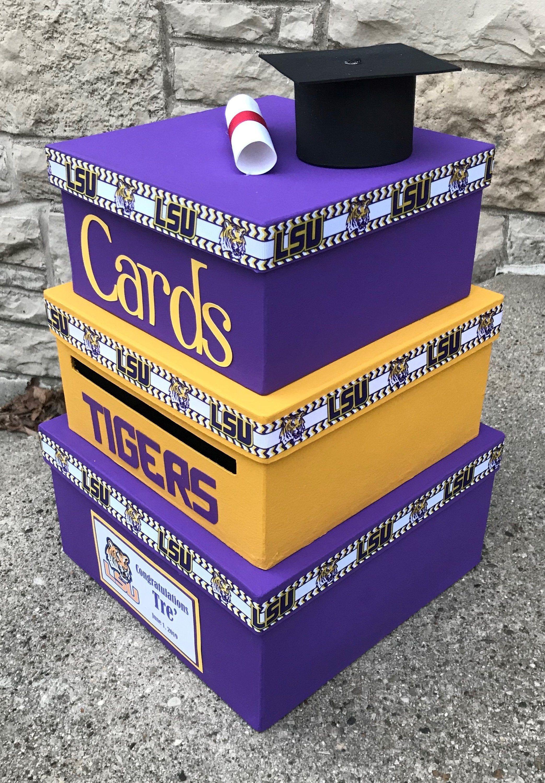 Custom Graduation Card Box 3 Tier Card Holder Square Etsy Graduation Card Boxes Card Box Graduation Cards