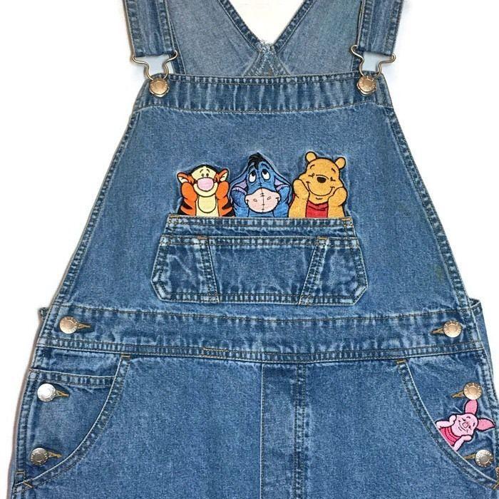 3b907dcab51 Details about Winnie the Pooh Denim Bib Overalls Med 34x27 Disney ...