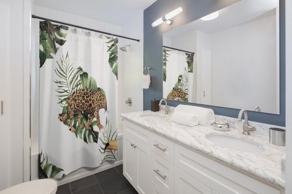 Boho Shower Curtain, Jungle Leopard Cat, Tropical Monstera, Floral Botanical watercolor Bathroom Dec