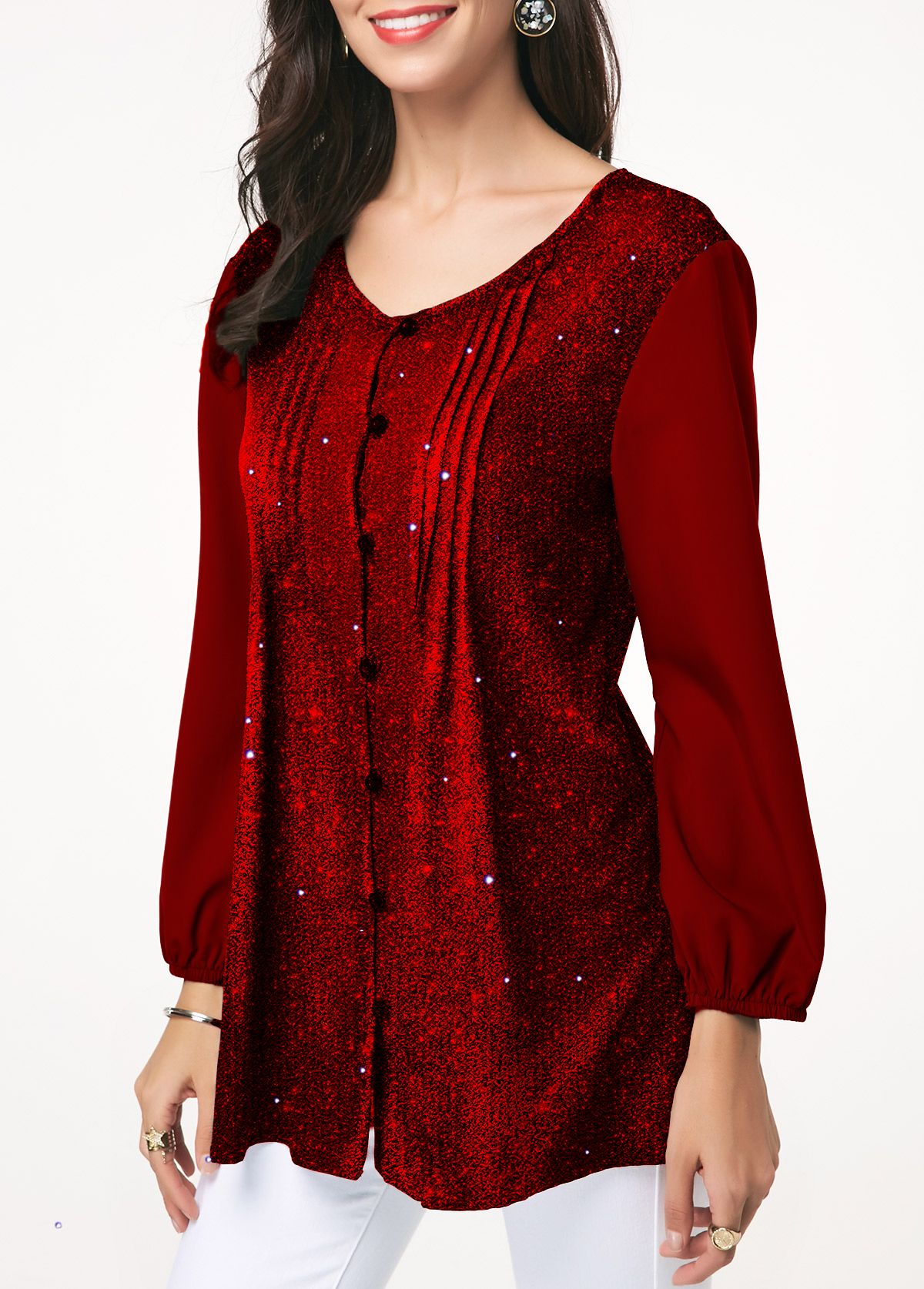 Button Front Wine Red Crinkle Chest Shining Blouse Trendy Tops For Women Trendy Fashion Tops Stylish Tops For Girls