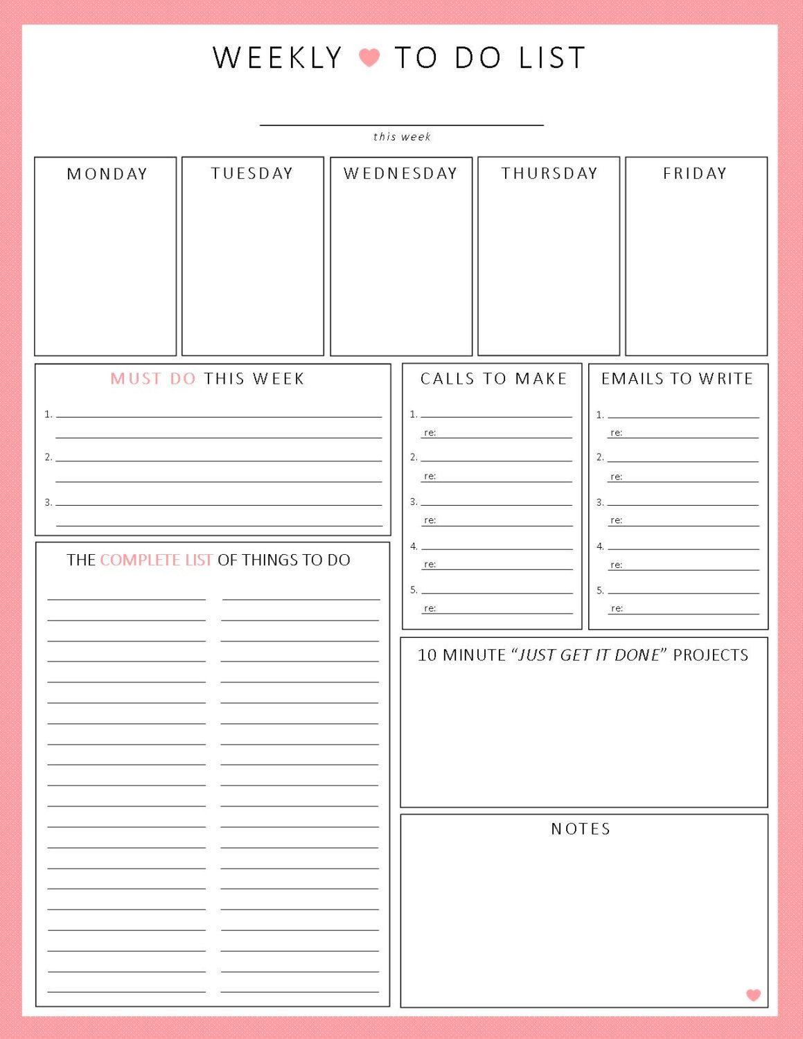 Weekly to do list 1sheet printable by lizzieloucreations for Diy to do list template