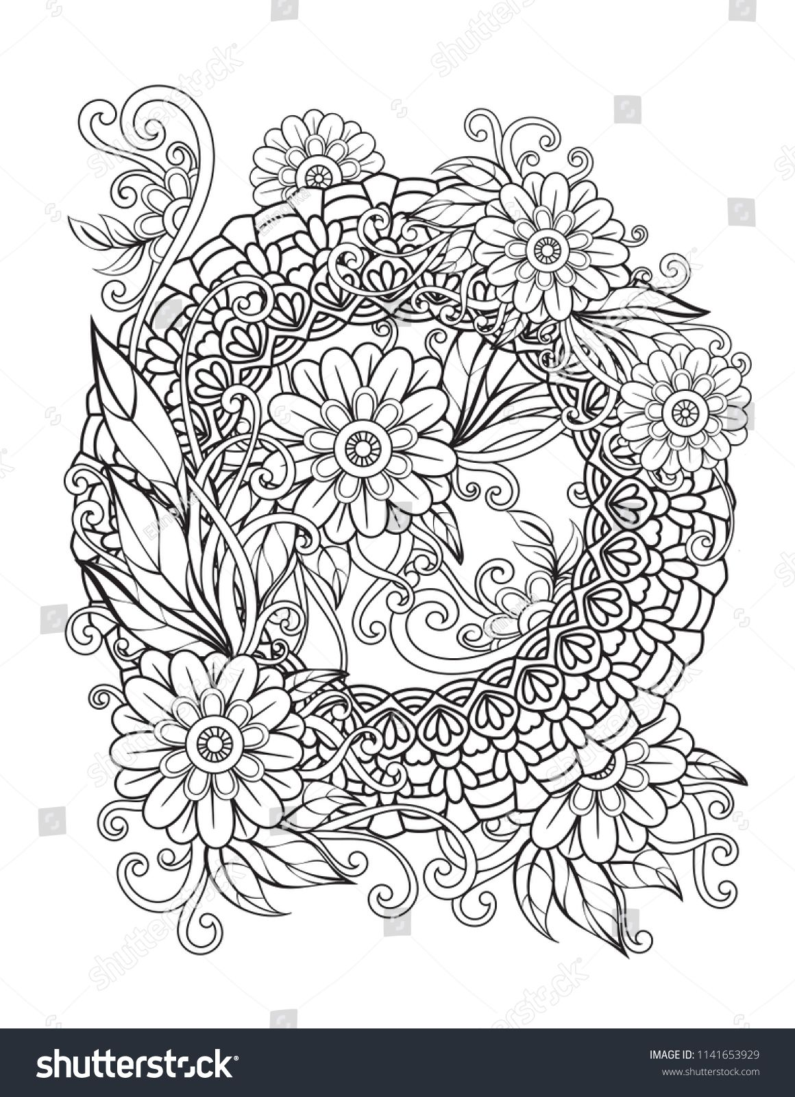 Floral mandala pattern in black and white. Adult coloring book page with  flowers and mandalas