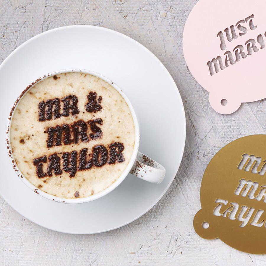 Personalised Wedding Gift Coffee Stencil by SophiaVictoriaJoy, £12.50