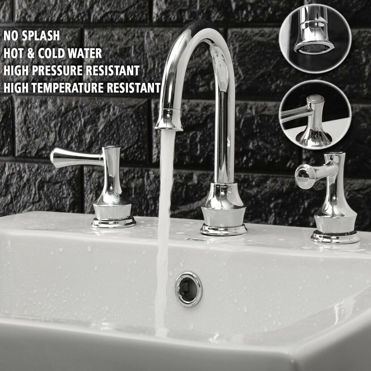 Tapcet 8 Widespread 2 Handles 3 Holes Bathroom Sink Faucet Chrome