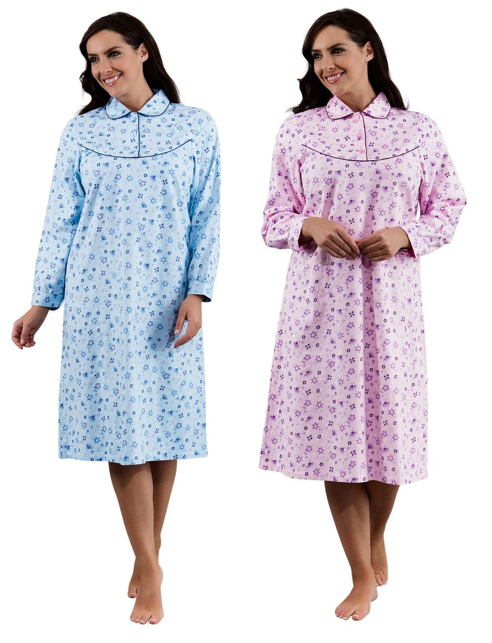 Peochi Womens Floral Brushed Cotton Nightdress (Blue or Pink) - Mill Outlets 26d6bab06