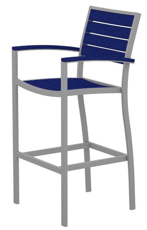 Polywood A202FASPB Euro Bar Arm Chair in Textured Silver Aluminum Frame / Pacific Blue