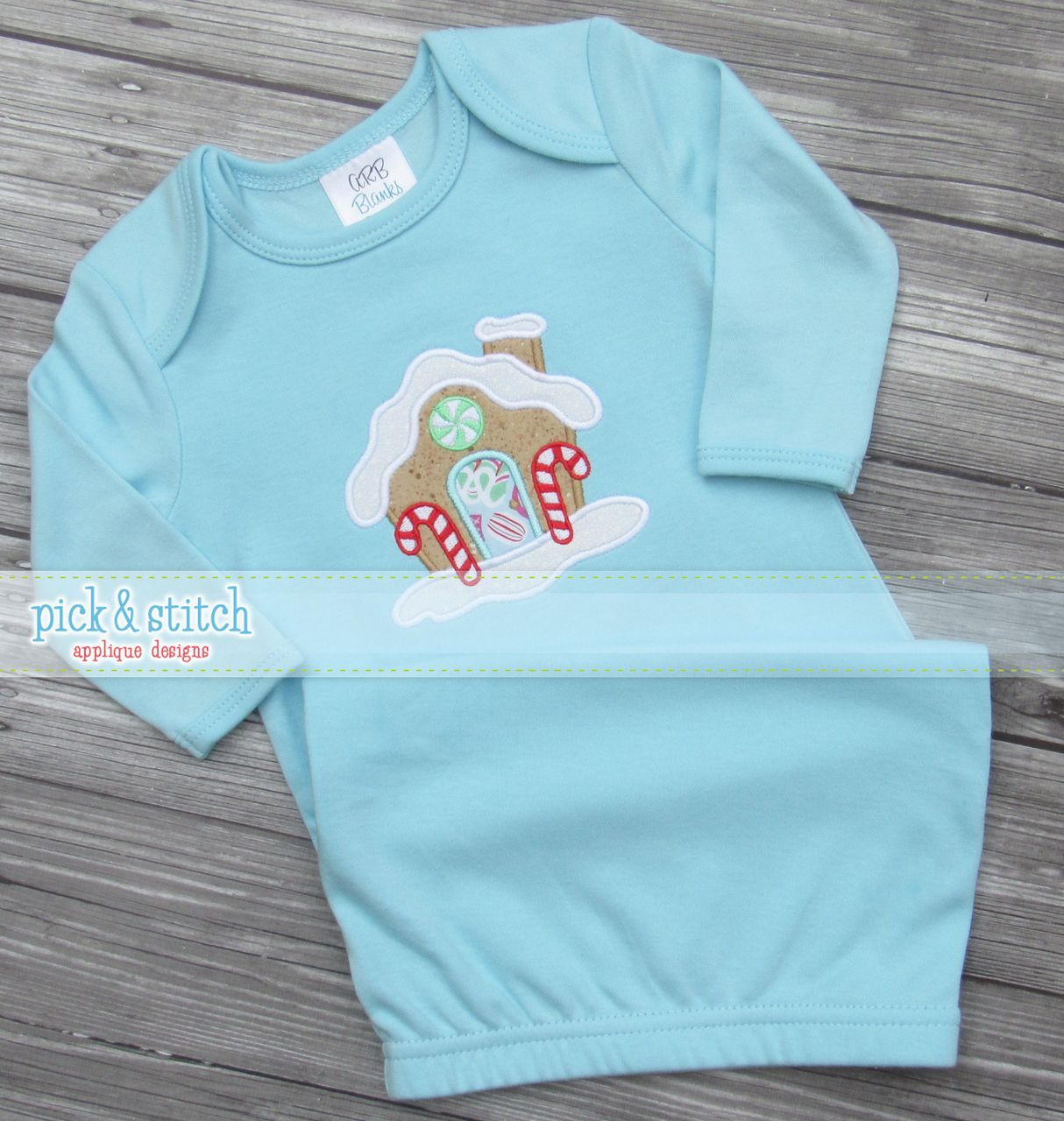 Our Gingerbread house looks so sweet on these ARB Blanks baby gowns ...