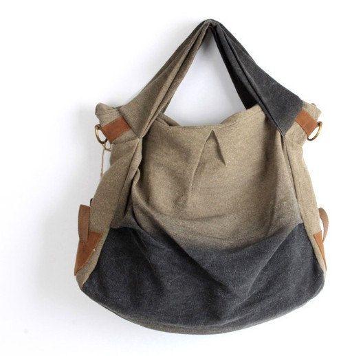 Retro-color Leather-canvas tote  Leather bag Canvas bag  Shopping bag  Stitch  bag Shoulder bag iPad bag.  69.00 4aba6c2ec5275