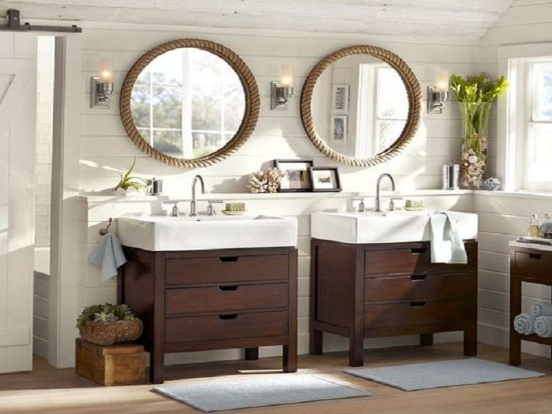 Vintage Bathroom with Double Oval Wall Mirror, and Double Brown ...