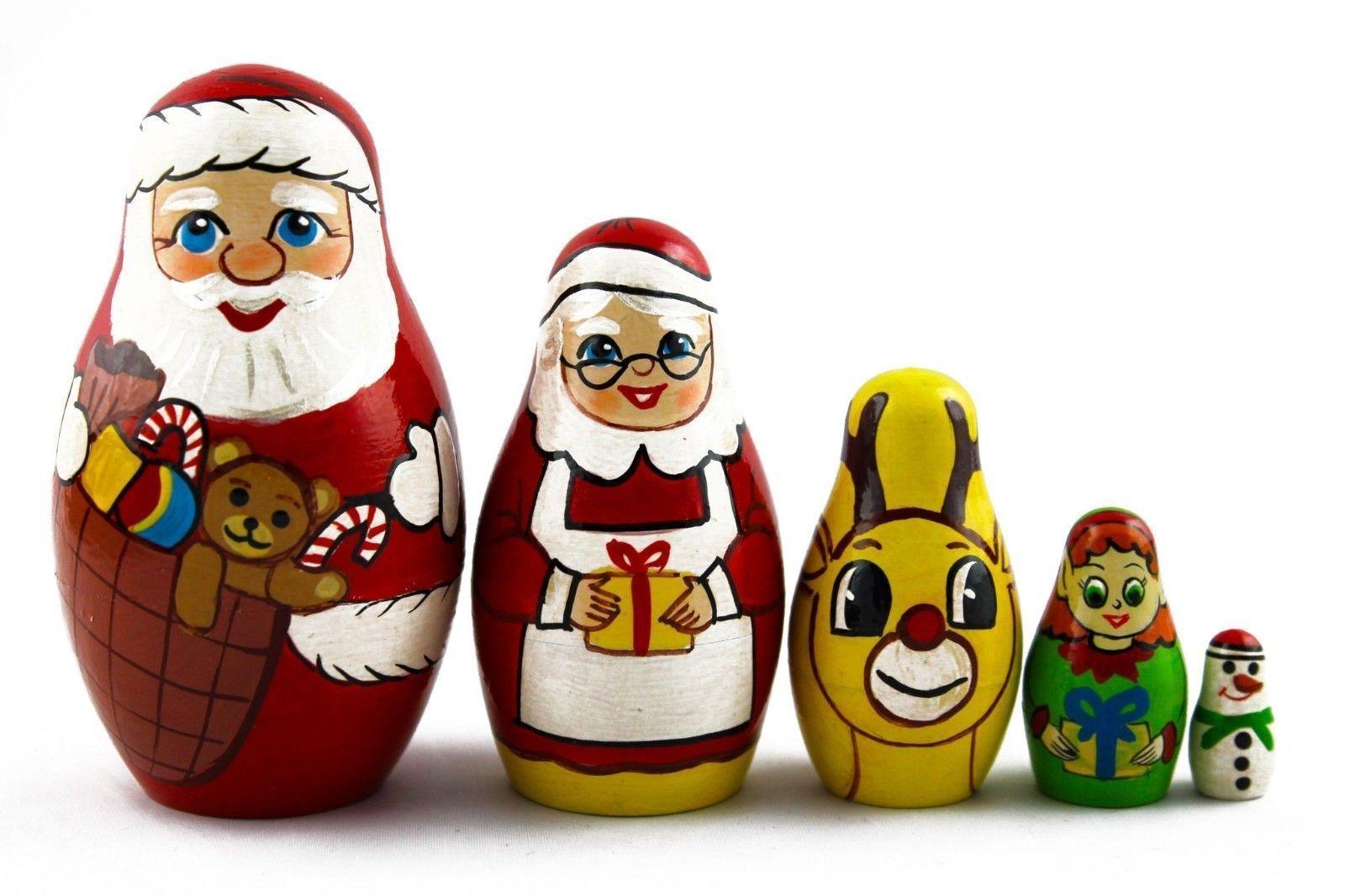 Matryoshka Russian Nesting Doll Wooden Puppe Christmas Story Santa Claus 5 pcs