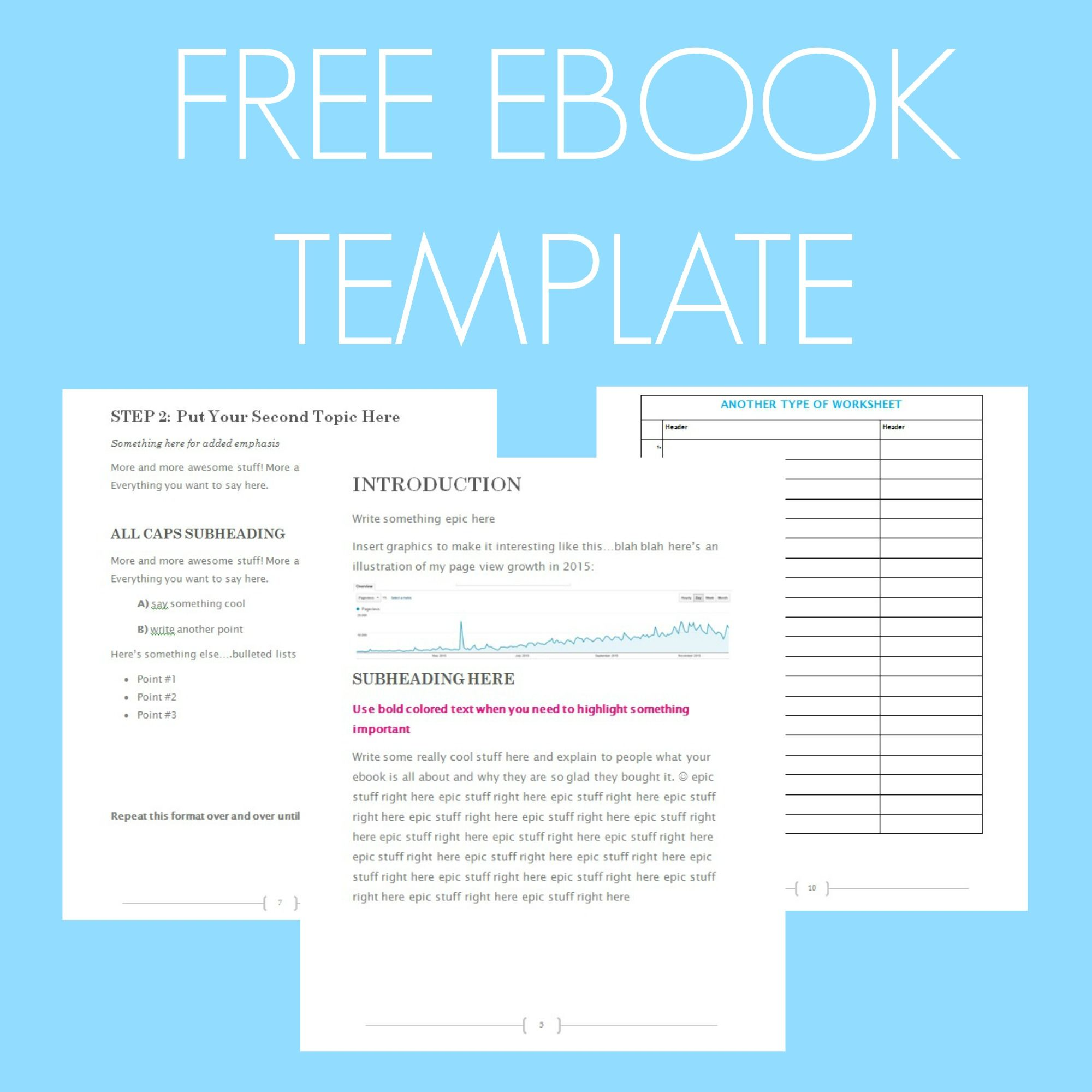 Free Ebook Template Preformatted Word Document Writing