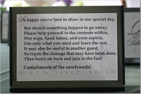 Wedding Bathroom Guest Sign Near A Basket With Hand Wipes Tylenol And Other Little