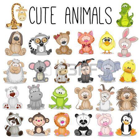 Gato Dibujo Conjunto De Animales Divertidos Sobre Un Fondo Blanco Dibujos De Animales Tiernos Dibujos De Animales Dibujos Para Ninos