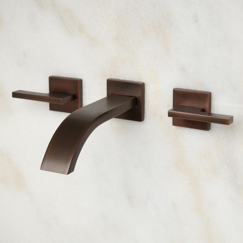 Ultra Wall Mount Bathroom Faucet Lever Handlno Overflow