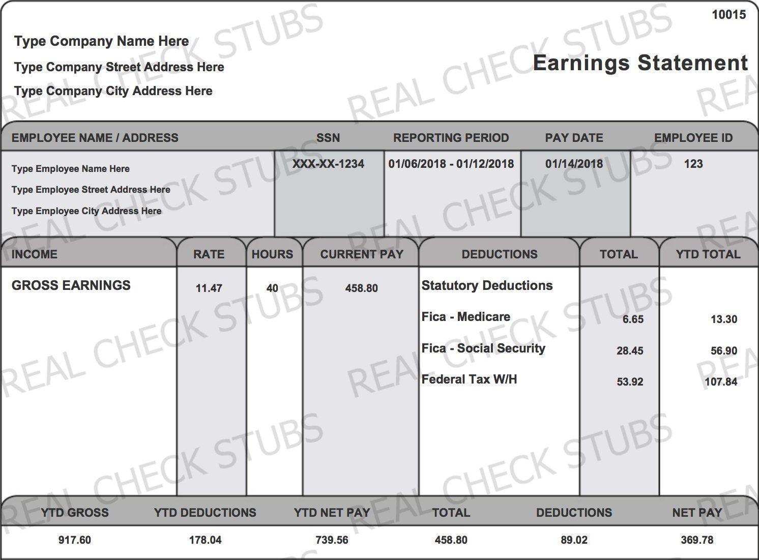 Real Paycheck Stubs Create Stub Paycheck, Real