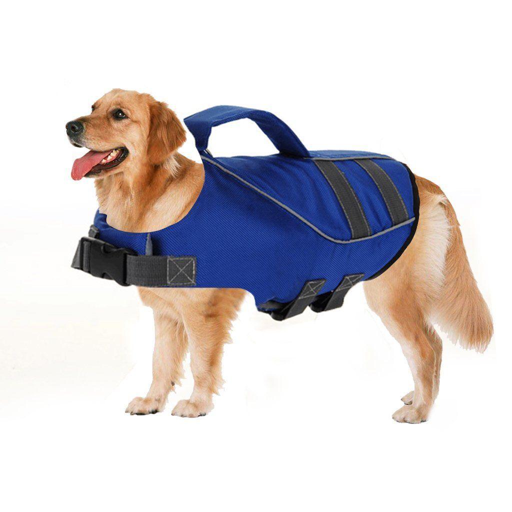 Vvhome Float Coat Dog Life Jacket Pet Saver Ripstop Quick Release Easy Fit Adjustable Dog Life Preserver With Dog Training Pads Dog Training Collar Dog Diapers