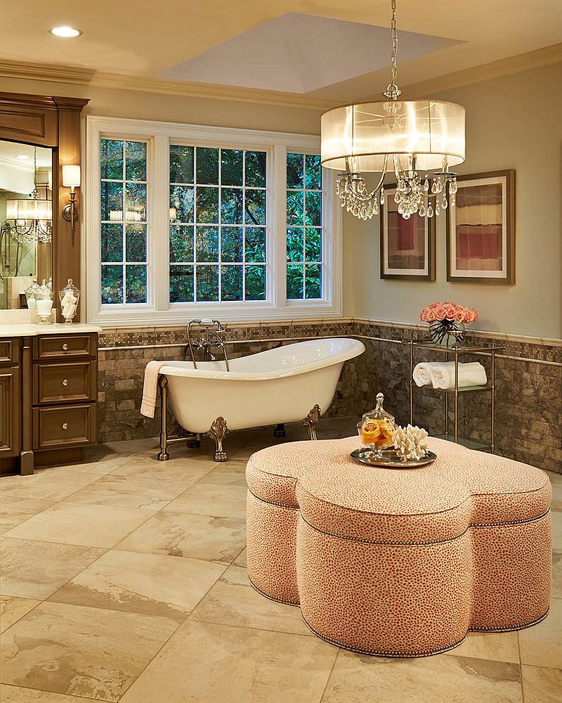 Bathroom Sconces Complement The Oversized Crystal And Shade Inspiration Bathroom Chandelier Inspiration Design