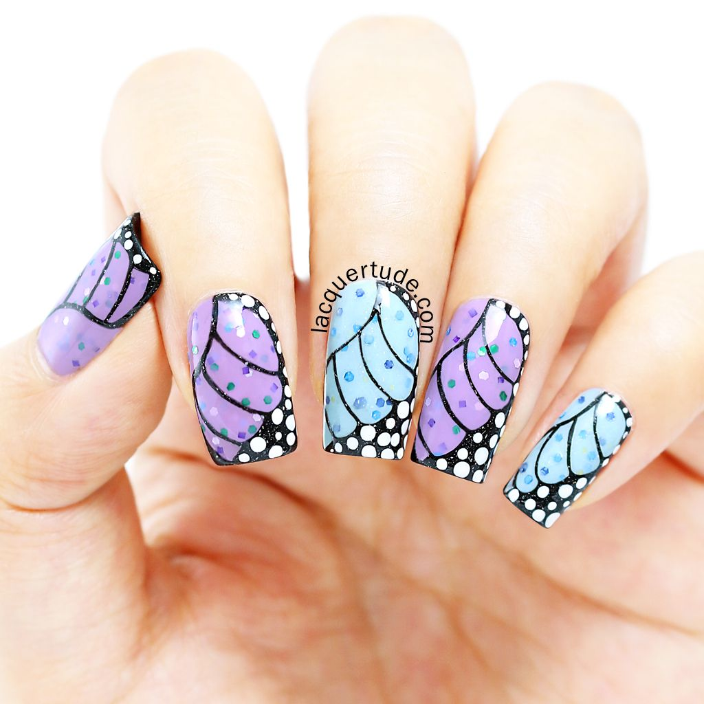 Fairy Butterfly Wings Nail Art using piCture pOlish Starry Night ...