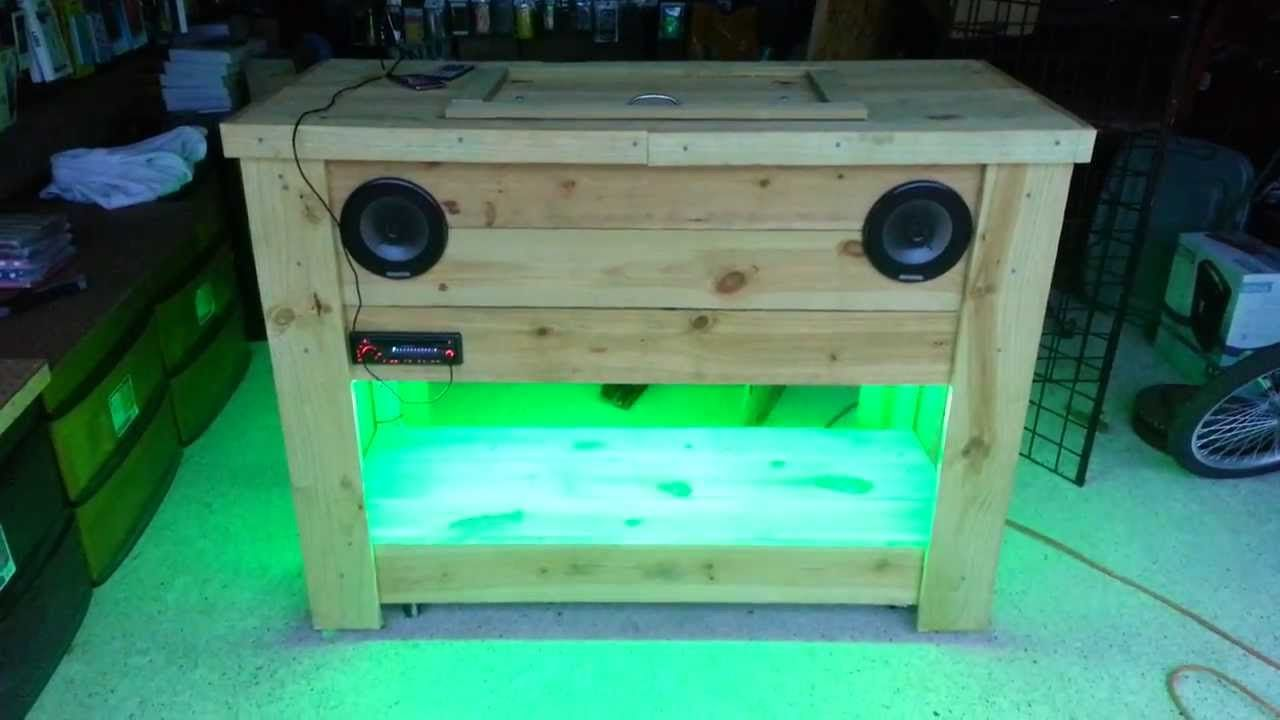Wooden Ice Chest With Led Lights And Stereo Part2 Wooden Ice Chest Chests Diy Wooden Cooler
