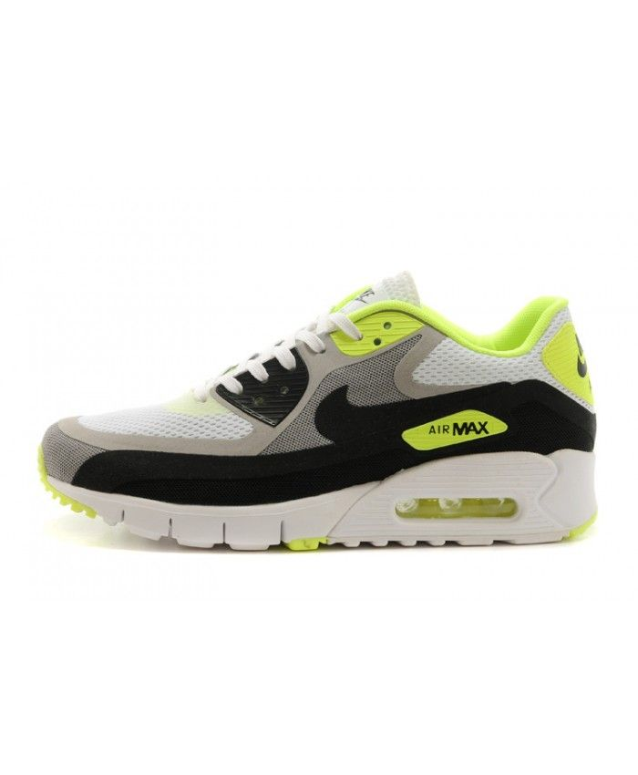 buy cheap half price exquisite design Homme Nike Air Max 90 Breathe Blanc Noir Jaune Chaussures ...