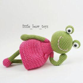 Leithygurumi: Little Bear Toys - Amigurumi Kurbağa Kız Türkçe Tarif - Amigurumi Frog Girl Free English Pattern #littledolls