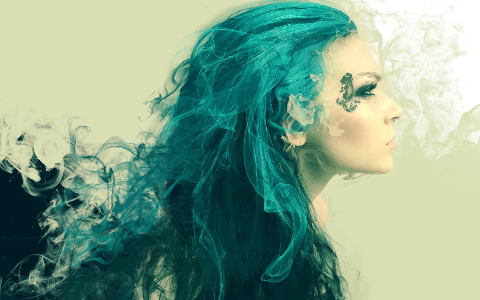 Blue Abstract Art | Women Abstract Design DeviantART Blue Hair ...