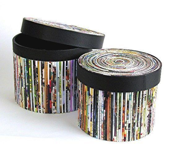 Originales cestas con papel reciclado es sencillo y chic - Decoracion con reciclaje ...