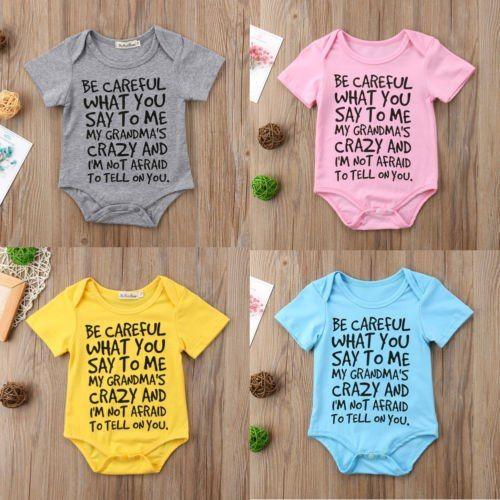 grandma/'s boy Baby Boy Toddler Jumpsuit Bodysuit Clothes 0-24M NEW