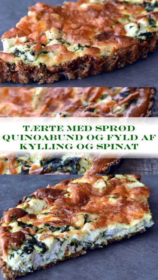 Tærte med sprød quinoabund og fyld af kylling og spinat - Dagens tallerken