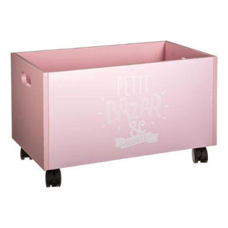 Coffre A Roulettes Petit Bazar 48cm Rose Coffre De Rangement