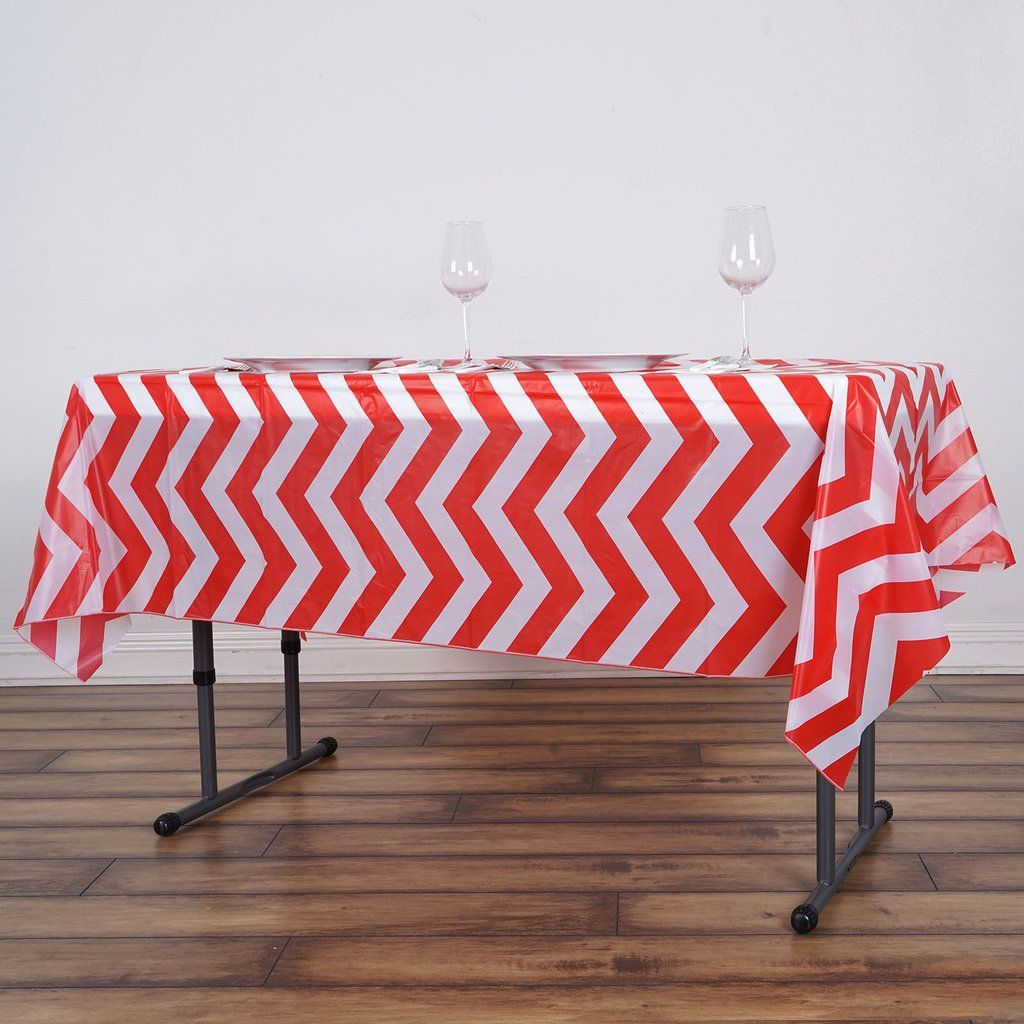 54 X 72 Red 10 Mil Thick Chevron Waterproof Tablecloth Pvc Rectangle Disposable Tablecloth In 2020 Waterproof Tablecloth Table Cloth Chevron Tablecloth