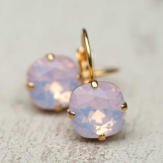 Ballet Pink Opal Earrings Gold Estate Style by NotOneSparrow