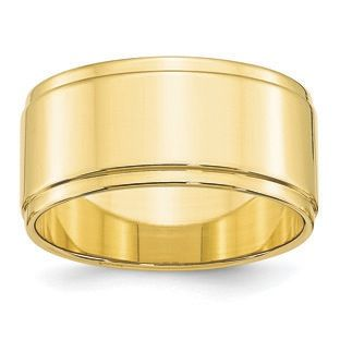 10mm Flat Step Down Edge Wedding Band In 10k Yellow Gold Gemologica Com Offers A Large Selection Of Wedding Step Edging Mens Gold Wedding Band White Gold Band