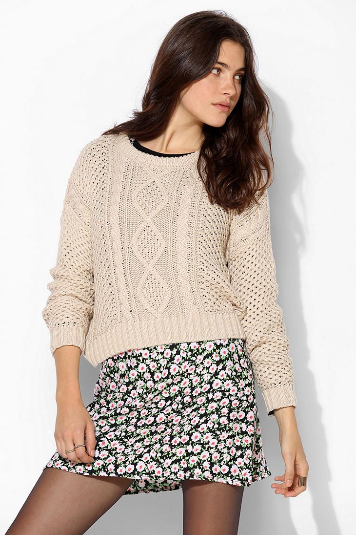 BDG Cable-Knit Cropped Sweater | Things to Wear | Pinterest ...