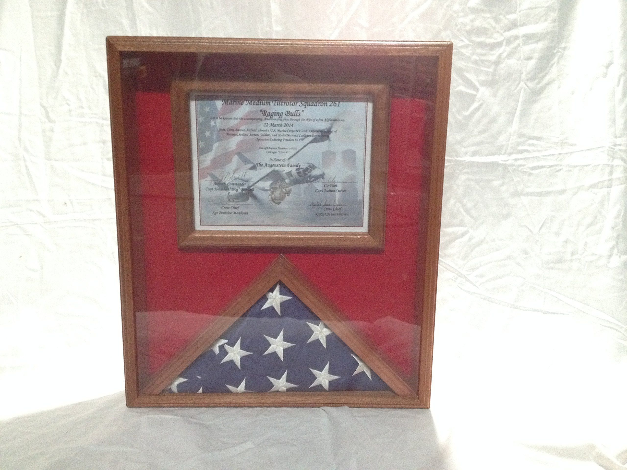 Flag Display Case With Certificate Holder, Solid Mahogany Wood Clear ...