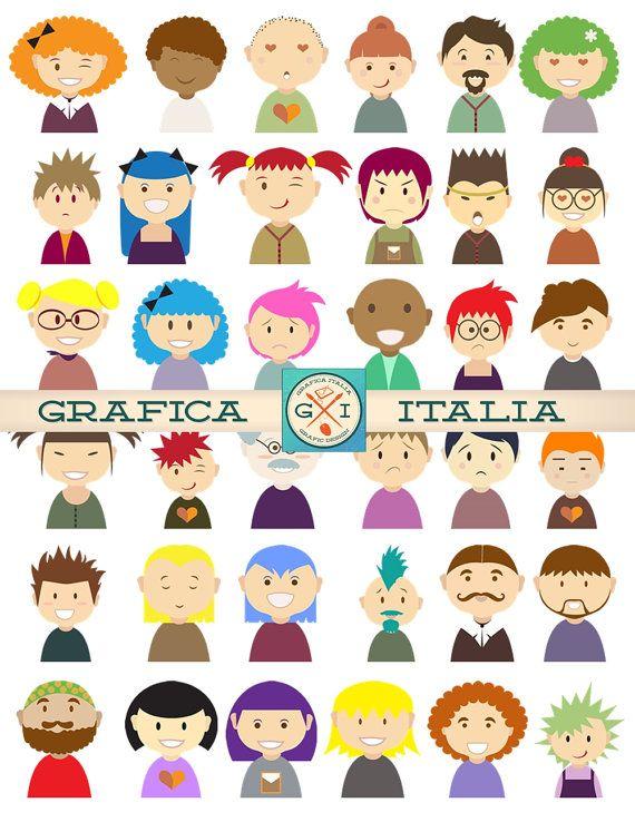 Humorous People Characters Clip Art - 40 Image Set - Men Women Children Avatars Clipart - Digital Download - Bottle Caps Scrapbooking DIY