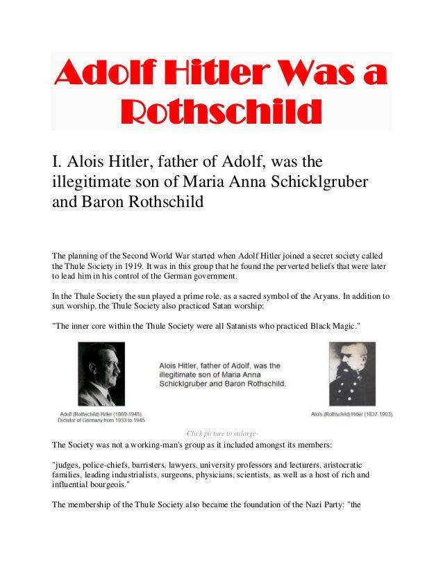 Adolf Hitler Was A Rothschild I Alois Hitler Father Of Adolf Was