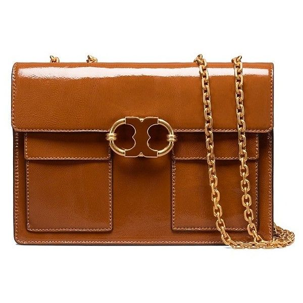63d710f3bb37 Tory Burch Gemini Link Patent Medium Chain Shoulder Bag ( 478) ❤ liked on  Polyvore