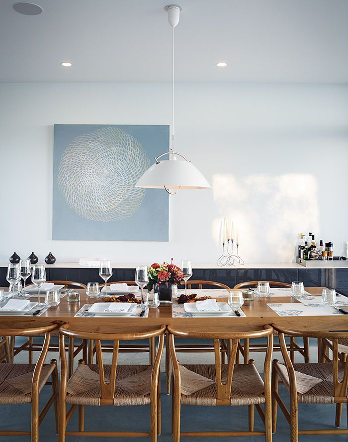 Ontario Vacation Home With Cloud White Dining Area Custom Table And Carl Hansen Sn Pendant Lamp