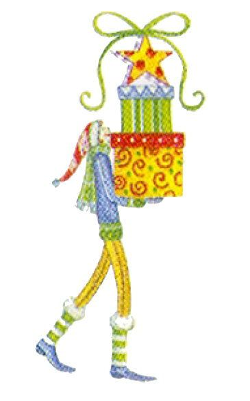 Shoply.com -Lolli Girl With Gifts 2 Christmas Funky Machine Embroidery Design in 4 Sizes. Only $3.99