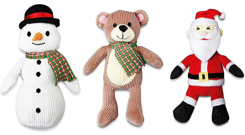 Animal Planet 3 Pack Christmas Holiday Plush Dog Toys With