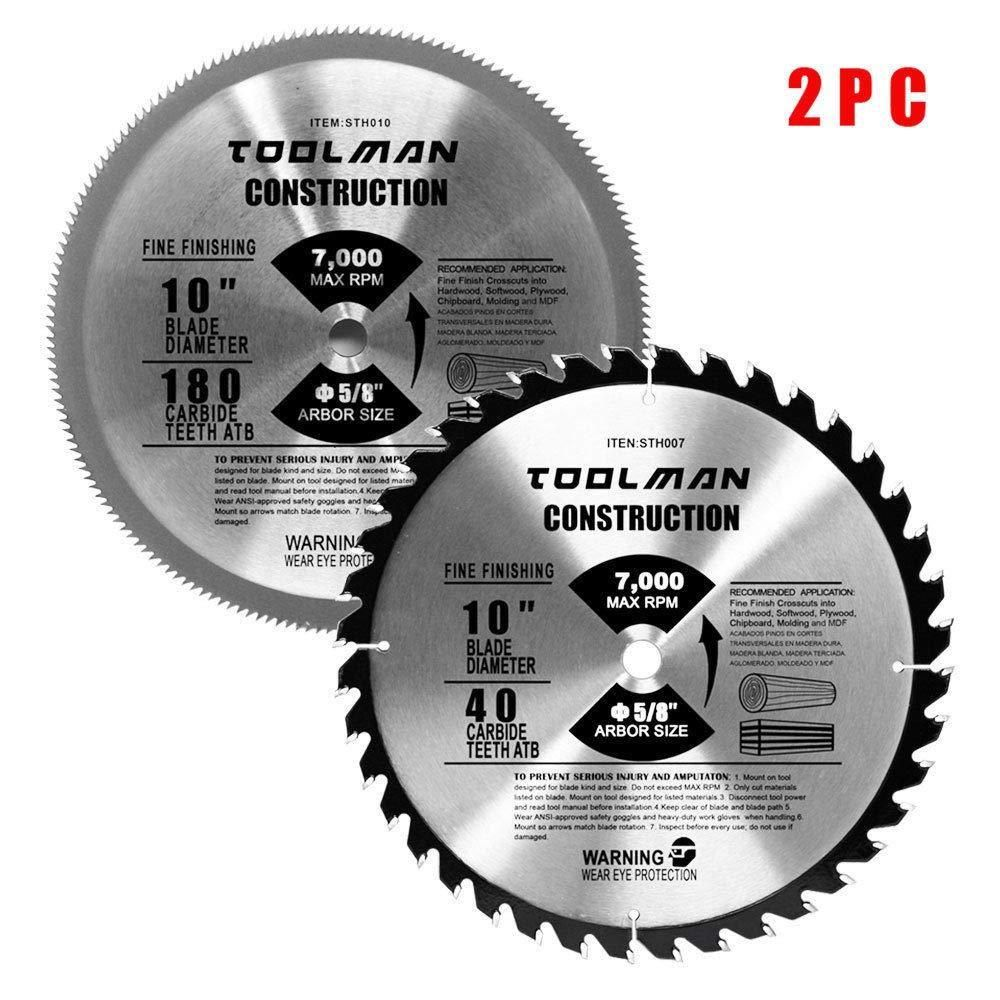 Circular Saw Blade 10 180t 40t 2pc Table Carbide Tipped Construction Lumber Toolman Power Tools Circular Saw Blades Table Saw Blades Circular Saw
